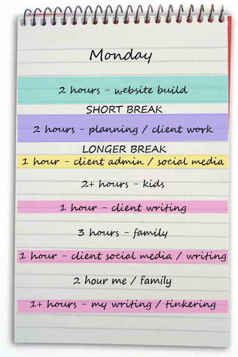 Daily schedule using blocks of time